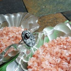 Silver, druzi,onyx contemporary ring